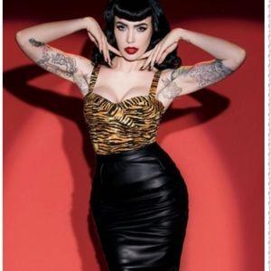 Black Moto Skirt - Deadly Dames/Pinup Girl